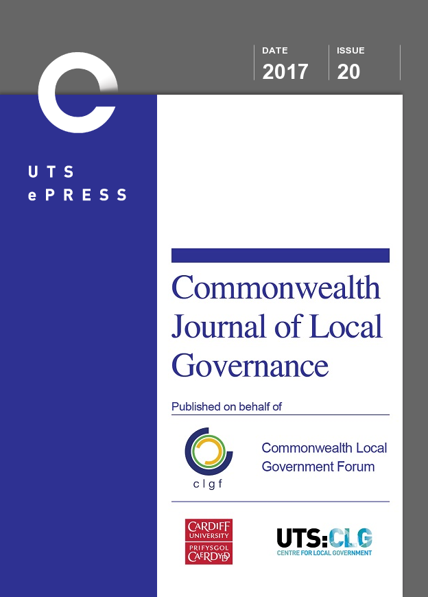 Journal cover: Commonwealth Journal of Local Governance, 2017, 20