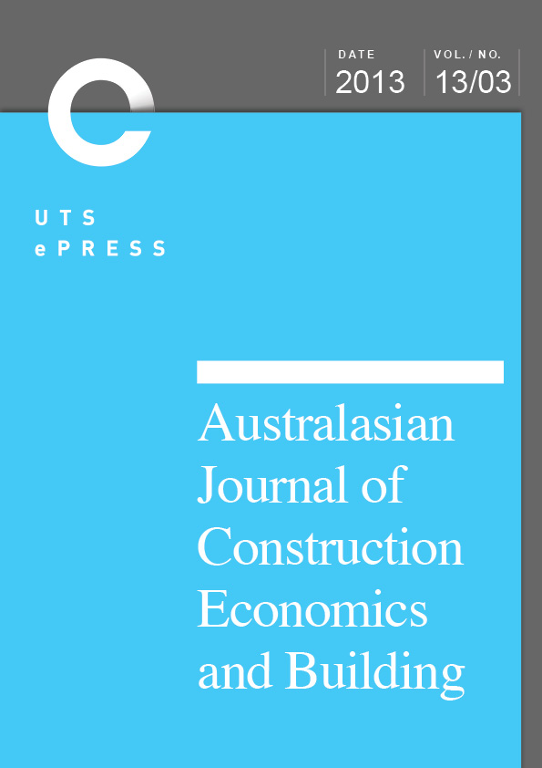 Vol  2013 Ajceb Incorporating Special Issue On Ohs Construction Economics And Building