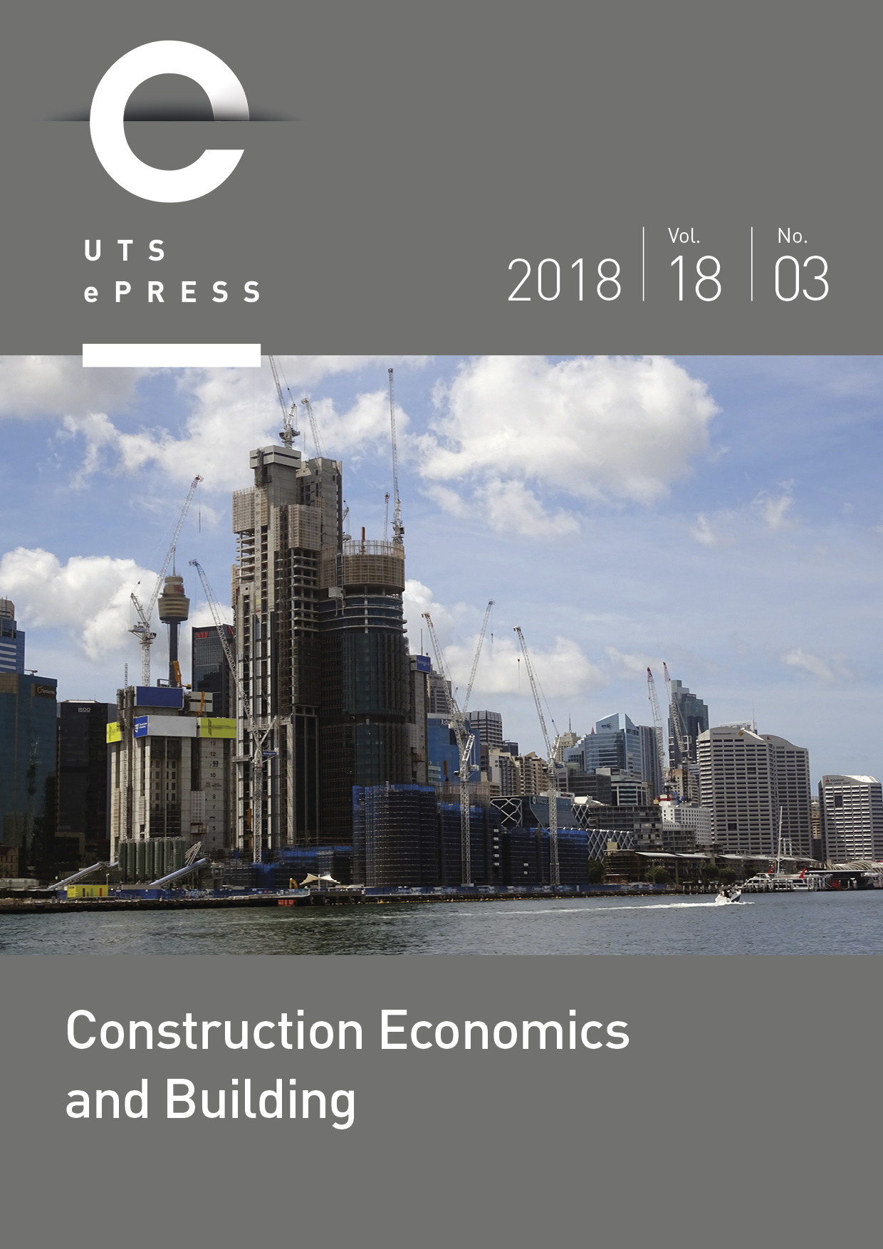 Cover: Construction Economics and Building, volume 18, issue number 3, September